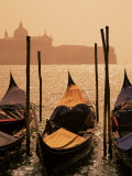 Gondolas on San Marco Canal and Church of San Giorgio Maggiore at Sunset, Venice, Veneto, Italy Photographic Print by Roy Rainford