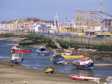 Amusement Park and Boats in Mouth of River Clwyd, Rhyl Town, Clywd, Wales, United Kingdom Photographic Print by Duncan Maxwell
