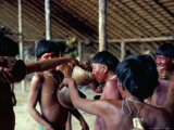 Yanomami Drinking Plantain Soup at Feast, Brazil, South America Photographic Print by Robin Hanbury-tenison