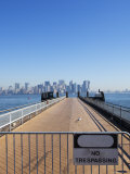 No Trespassing Sign on Jetty Facing Manhattan Skyline, Liberty Island, New York City, USA Photographic Print by Amanda Hall