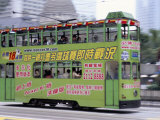 Green Tram, Central, Hong Kong Island, Hong Kong, China Photographic Print by Amanda Hall