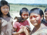 Gorotire Indian Girls with Coati, Brazil, South America Photographic Print by Robin Hanbury-tenison