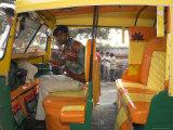 Rickshaw Owner Sitting in His Newly Decorated Moto Rickshaw, Agra, Uttar Pradesh State, India Photographic Print by Eitan Simanor