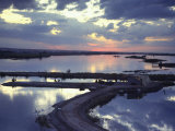 Cafe on a Jetty at Raqqa at Sunset, Euphrates Valley, Syria, Middle East Photographic Print by Eitan Simanor