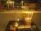 Jewish Festival of Hanukkah, Three Hanukiah with Four Candles Each, Jerusalem, Israel, Middle East Photographie par Eitan Simanor
