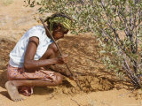 Aborigine Woman Digging for Wichetty Grubs, Northern Territory, Australia Photographic Print by Claire Leimbach
