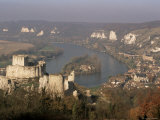 Chateau Gaillard and River Seine, Les Andelys, Haute Normandie (Normandy), France Photographic Print by John Miller