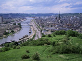 River Seine and Rouen, Seine Maritime, Haute Normandie (Normandy), France Fotografisk tryk af Roy Rainford