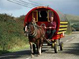 Horse-Drawn Gypsy Caravan, Dingle Peninsula, County Kerry, Munster, Eire (Republic of Ireland) Fotografisk tryk af Roy Rainford