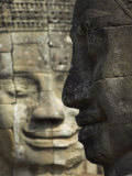 Stone Statuary of Human Faces, Ta Prohm Temple, Angkor, Siem Reap Photographic Print by Eitan Simanor