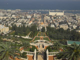 Elevated View of City Including Bahai Shrine and Gardens, Haifa, Israel, Middle East Lmina fotogrfica por Eitan Simanor