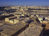 Jewish Tombs in the Mount of Olives Cemetery, with the Old City Beyond, Jerusalem, Israel Photographic Print by Eitan Simanor