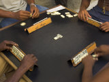 The Hands of a Group of Four People Playing Dominos in the Street Centro Habana Photographic Print by Eitan Simanor