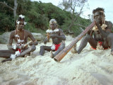 Three Aborigines Playing Musical Instruments, Northern Territory, Australia Photographic Print by Claire Leimbach