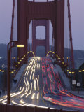 Traffic on the Golden Gate Bridge at Dusk, San Francisco, California, USA Photographic Print by Roy Rainford