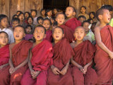 Group of School Children, Including Young Monks, Singing, Village of Thit La, Shan State, Myanmar Photographic Print by Eitan Simanor