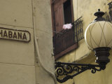 Habana Street Sign and Lampost, Obispo Street, Havana Vieja, Havana, Cuba Photographic Print by Eitan Simanor
