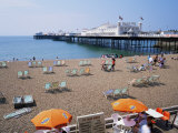 The Palace Pier and Beach, Brighton, Sussex, England, United Kingdom Photographic Print by Roy Rainford