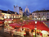 Place Du Tertre at Night, Montmartre, Paris, France Photographic Print by Nigel Francis