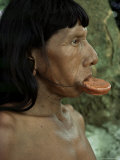 Suya with Lip Plate, Xingu, Brazil, South America Photographic Print by Claire Leimbach