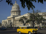 Old American Car Passing the Capitolio Nacional, Havana, Cuba, West Indies, Central America Photographic Print by Eitan Simanor