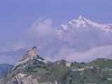 Valeria Castle with Mountains Beyond, Valeria, Sion, Valais, Swiss Alps, Switzerland Photographic Print by Roy Rainford