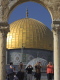 Tourists Taking Photographs, at the Dome of the Rock, Old City, Jerusalem, Israel Photographic Print by Eitan Simanor