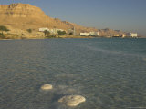 Salt Blocks in the Sea and Hotels in Background, Ein Bokek Hotel Resort, Dead Sea, Israel Photographic Print by Eitan Simanor