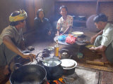 Family Cooking in Kitchen at Home, Village of Pattap Poap Near Inle Lake, Shan State, Myanmar Photographic Print by Eitan Simanor
