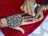 Henna Designs Being Applied to a Woman's Hand, Rajasthan State, India Photographic Print by Bruno Morandi