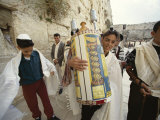 Jewish Bar Mitzvah Ceremony at the Western Wall (Wailing Wall), Jerusalem, Israel, Middle East Photographic Print by S Friberg