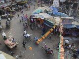 Local Market and Rickshaws Seen from Above, Pahar Ganj, Main Bazaar, New Delhi, Delhi, India Photographic Print by Eitan Simanor