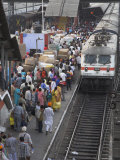 Train Ariving at Crowded Platform in New Delhi Train Station, Delhi, India Photographic Print by Eitan Simanor
