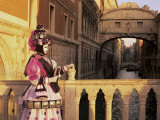 Carnival Costume and the Bridge of Sighs, Venice, Veneto, Italy Photographic Print by Simon Harris