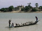 Peul Herder and Cattle Crossing the River Bani During Transhumance, Sofara, Mali, Africa Photographic Print by Bruno Morandi