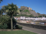 Mount Orgueil Castle, Palms and Quayside, Gorey, Jersey, Channel Islands, United Kingdom Photographic Print by David Hunter