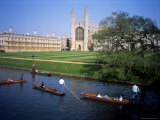 Kings College Chapel and Punts on the Backs, Cambridge, Cambridgeshire, England Photographic Print by David Hunter