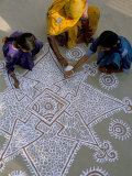 Women Painting a Mandana on the Ground, Village Near Jodhpur, Rajasthan State, India Photographic Print by Bruno Morandi