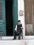 Old Man in Traditional Costume, Crete, Greece Fotografisk tryk af Michael Short