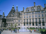 Peace Gardens Fountain and Town Hall, Sheffield, South Yorkshire, Yorkshire, England Photographic Print by David Hunter