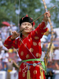 Archery Contest, Naadam Festival, Oulaan Bator (Ulaan Baatar), Mongolia, Central Asia Photographic Print by Bruno Morandi