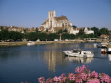 St. Stephen's Cathedral on Skyline, Auxerre, River Yonne, Bourgogne, France Photographic Print by Michael Short