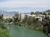 Grand Mosque (Karadjoz Beg) and River Neretya, Mostar, Bosnia Herzegovina Photographic Print by Michael Short