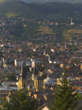 View Over City with Orthodox Cathedral in Foreground, Sarajevo, Bosnia, Bosnia-Herzegovina Photographic Print by Graham Lawrence