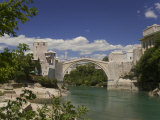 The New Old Bridge Over the Fast Flowing River Neretva, Mostar, Bosnia, Bosnia-Hertzegovina Photographic Print by Graham Lawrence