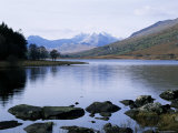 Llyn Mynbyr in the Early Morning, with Snowdonian Mountains Behind, Capel Curig, North Wales Photographic Print by Raj Kamal