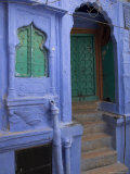 Entrance Porch and Window of Blue Painted Haveli, Old City, Jodhpur, Rajasthan State, India Photographic Print by Eitan Simanor