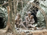 Pygmy Women and Children Outside Huts, Central African Republic, Africa Photographic Print by Ian Griffiths