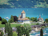 View of Spiez Over Lake Thun, Swiss Lakes, Switzerland Photographic Print by Simon Harris
