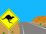 Illustration of a Road Sign at Ayers Rock, Australia Photographic Print by Michael Kelly